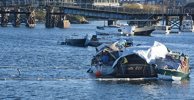 File photo  Boats remain in Gorge Waterway off of Victoria's Banfield Park past the deadline given by City of Victoria staff.